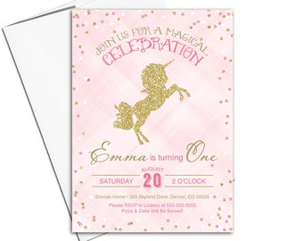 1st birthday invitation girl, Unicorn party invitations, unicorn birthday invitation, girls first birthday party, pink gold - WLP00371