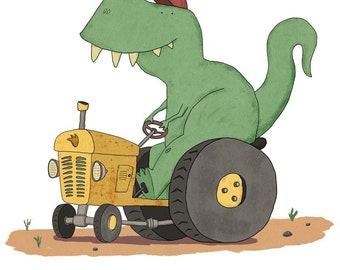 Tractorsaurus Rex - Unframed children's art print