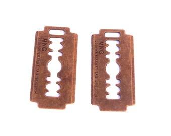 2 lock key steampunk padlock bronze brass 40mm