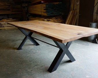Live Edge Reclaimed Wood Dining Table | Green Bay Trail Dining Table