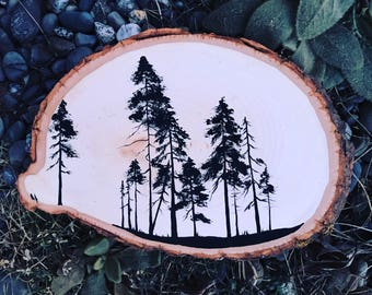 pine tree painting / wood slice art / minimal / silhouette trees / rustic decor