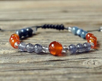 Taurus Zodiac, Taurus Energy Bracelet, Carnelian, Iolite, Adjustable Wrist Mala, Crystal Healing, Meditation Bracelet, Yoga Bracelet, Stack