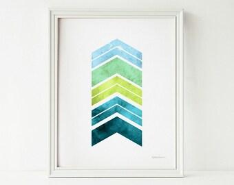 Teal green Chevron print, Teal wall decor, Home decor wall art printable art, Geometric art Modern art print, Chevron decor Geometric print
