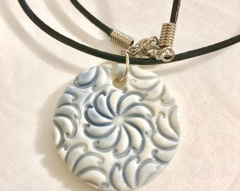 Porcelain Stamp Embossed Pendant