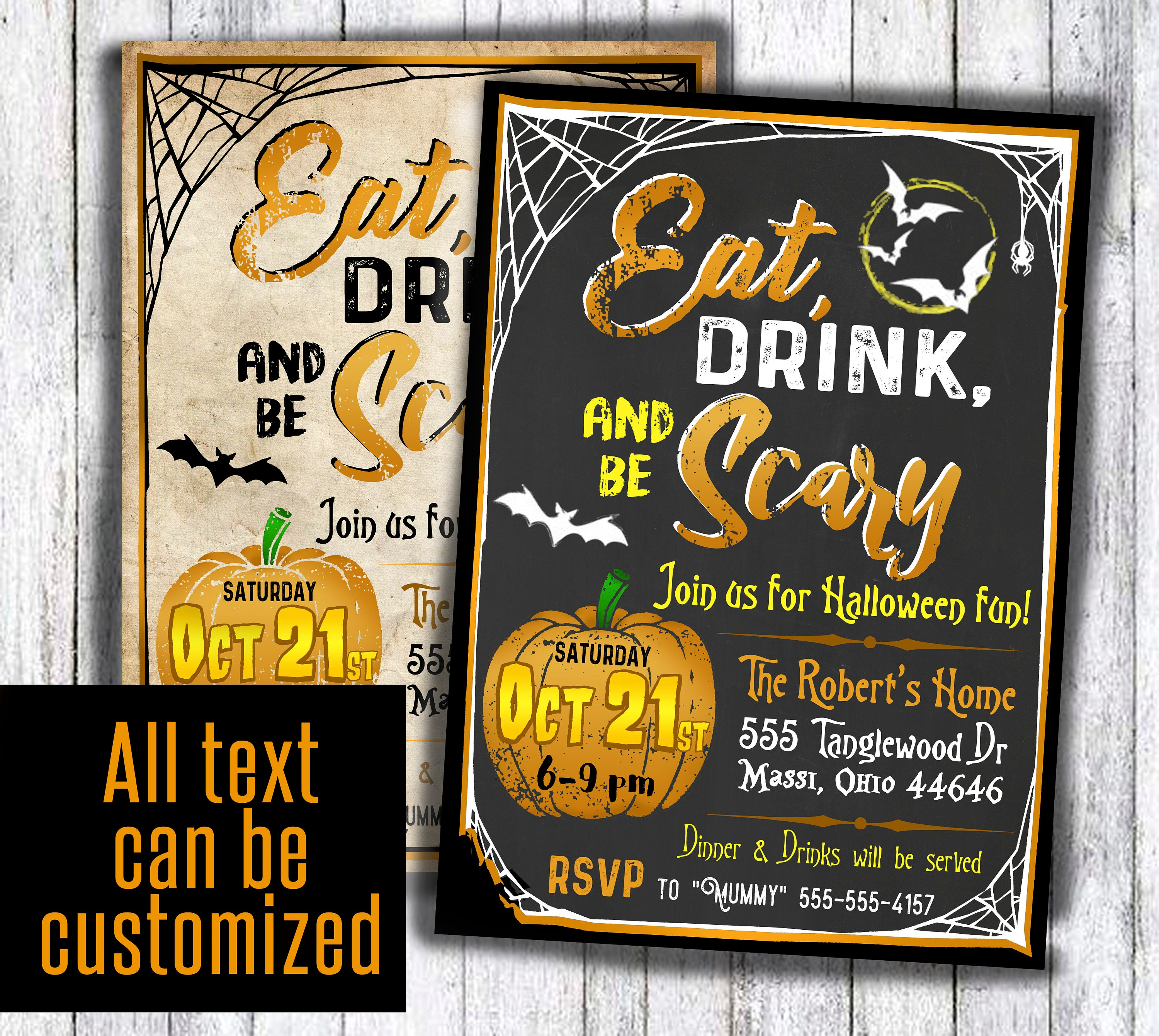 Eat Drink and be Scary invitation antique adult Halloween