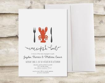 Crawfish Boil Invitation, Lobster Bake Invitation, Lobster Boil Invitation, Crawfish Boil Engagement Party, Crawfish Boil Rehearsal Dinner