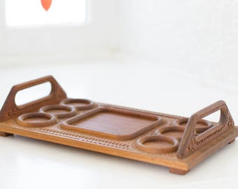 Vintage carved wooden tray -