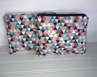 Multicolored Geometric   Handmade Zipper Pouch