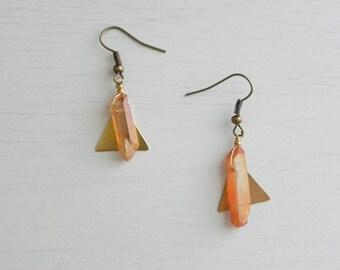 Makeda Earrings // Brass Triangles + Raw Crystal Quartz + Nickel Free Hooks  + Handmade Jewelry + Boho