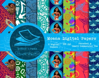 Moana Digital Papers - 8 Designs 12x12in, 30x30 cm - Ready to Print - High Quality