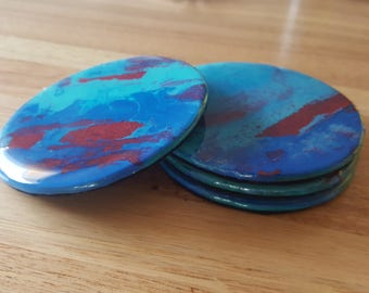 Abstract Art Coasters in Blue and Turquoise
