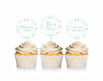 Blue and Gold Baby Shower Cupcake Toppers, Its a Boy, Welcome Baby, 1 Editable, Blue Baby Shower Party Circles, PRiNTABLE INSTANT DOWNlOAD