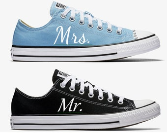 Custom Bride and Groom Mrs. and Mr. Wedding Converse Sky Blue and Black Hand Painted