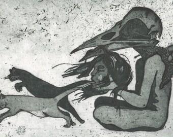 Intaglio, Aquatint, Pen, etching, fantasy, surreal, cats, art, 33x24cm, 'Static.'