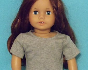 American Made 18 Inch Doll Short Sleeved Gray Tee Shirt