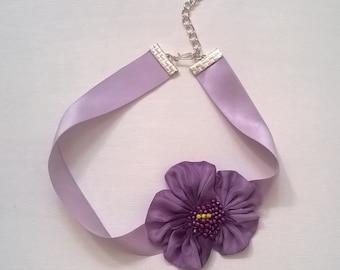 Purple Pansy 100% Silk Choker - Genuine Silk Ribbon with Silk Fabric Flower - Bridal, Bridesmaid, Wedding, Prom, Pageant Choker Necklace