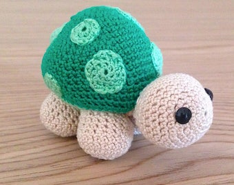 Green and beige Amigurumi turtle handmade crochet
