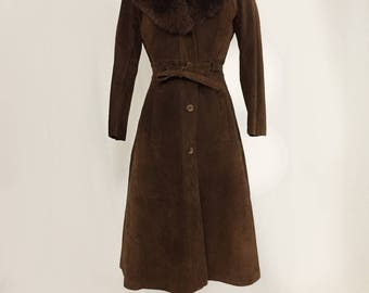 Shearling Collar Suede Trench