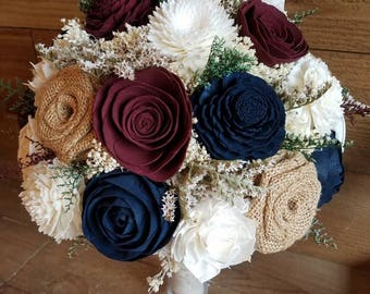 Custom Burgundy and Navy Sola Wood Flower and Burlap Rose Bouquet dried Flowers Keepsake Fake Flower girl Toss Bridal Bridesmaid Style 68