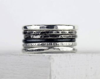 Ombre Silver Stacking Rings, Hammered Silver Rings, Oxidized Finish, Patina, Mixed Texture, Unique Rings, Set of Six