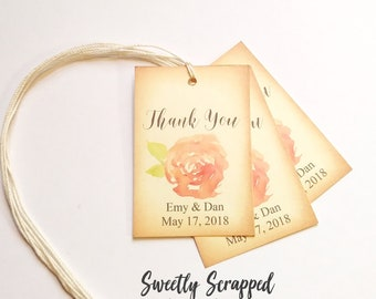 Thank You Wedding Tags. Watercolor Wedding Tags. Peony Flower Wedding Tags. Peach Pink Flower Tags. Gift Tags. Favor Tags. Labels. DIY Tags