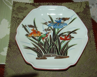 Decorative Plate with Blue and Rust Iris and an Exotic Bird