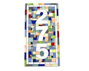 Vertical Address Plaque in Stained Glass Mosaic Tile – Comes in Horizontal Also