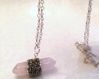 Necklace, Gemstone, Rose Quartz Necklace