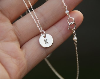 silver initial necklace, monogram necklace, sterling silver necklace, bridesmaid gift, initial necklace