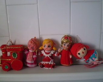 Vintage Flocked Christmas Ornaments Set Of 4