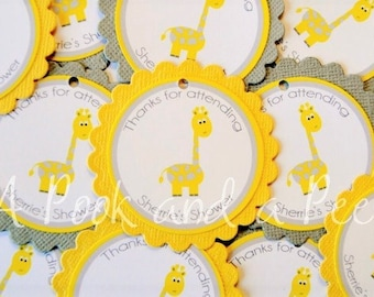 Yellow Gray Giraffe Personalized Favor Tags or Stickers for Baby Showers and Birthday Parties Set of 12