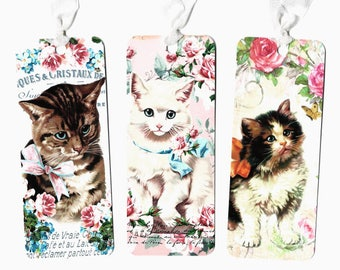 Bookmarks, Cat Bookmarks, Roses & Kittens, Cat Lover, Vintage Style, Kittens, 3pc