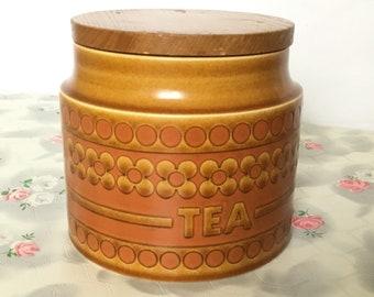 1977 Hornsea saffron tea canister, vintage kitchen storage jar, 1970s Hornsea canister, Hornsea tea caddy, vintage tea caddy, retro kitchen