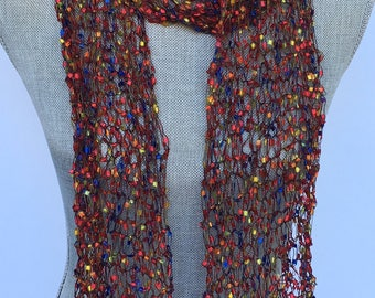Scarf, Hand knit, red multi color