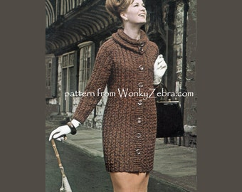 Vintage knitted coat jacket cardigan cowl neck Knitting Pattern Stitchcraft 1962 PDF 851 from WonkyZebra