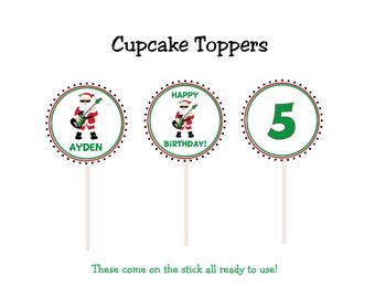 Christmas cupcake toppers Rockin Santa Santa Cupcake toppers