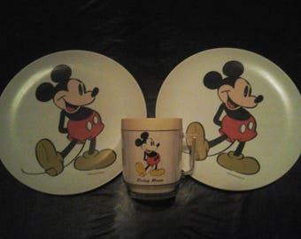 Vintage Walt Disney Mickey Mouse Mug and Two 9 Inch Plates
