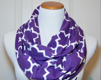 Quatrefoil Acai Purple Infinity Scarf