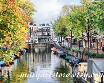 Digital Photo - Amsterdam Canal - Amsterdam Architecture - Autumn in Amsterdam - Travel Photo - Amsterdam Photo - Romantic Photo