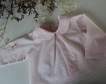 Blouse, Guimpe, white Peter Pan collar with pink polka dots baby Blouse