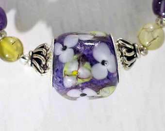 Breeze Among Flowers Lampwork Necklace