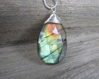 Labradorite Pendant, Semi Precious Gemstone Charm Sterling silver wire wrapped  One of a Kind Labradorite Jewelry