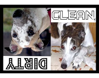 Greyhound or Whippet Dishwasher Magnet - always know if the dishes are clean or dirty 3x5 FREE SHIPPING