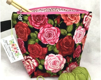 Roses Knitting Project Bag, Crochet Project bag, Yarn Bag, Craft Project Tote