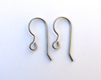 Titanium Earring Wires, 21 gauge 20mm Hypoallergenic, French Hooks, 5 pairs
