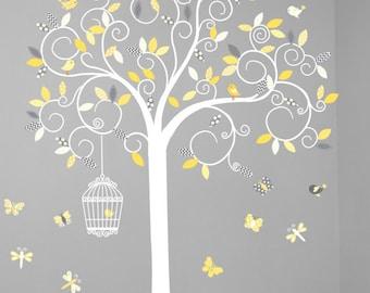 Children wall decal tree - Vinyl tree decal - tree decal - Swirl tree decal- Nursery tree - Swirl Tree Decal - Nursery Wall Decal - Yellow