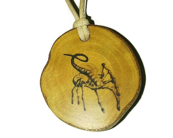 Bespoke Alien Facehugger Xenomorph Necklace Wood Pendant Rustic Unique Wooden Charm Choker Jewellery Keyring Scented Gift