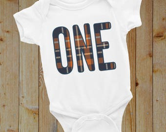 Plaid ONE year old Birthday onesie for baby boy / toddler - unique plaid birthday outfit