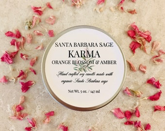 Orange Blossom & Amber 5oz. Soy Candle by Santa Barbara Aromatics | Gift for Her | Gift for Mom |Essential Oil Candles | Bridesmaid Gift