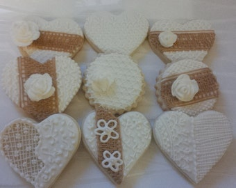 Burlap and Lace Cookies